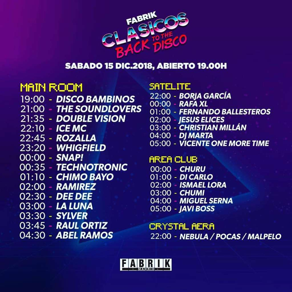 @Madrid at Fabrik LINE UP Clasicos Back To Disco 2018